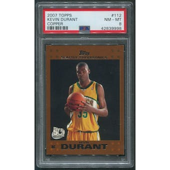 2007/08 Topps #112 Kevin Durant Copper Rookie #13/50 PSA 8 (NM-MT)