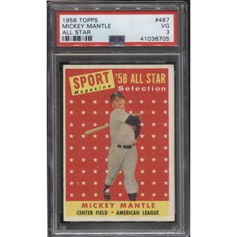 1958 Topps Baseball #487 Mickey Mantle All Star PSA 3 (VG)