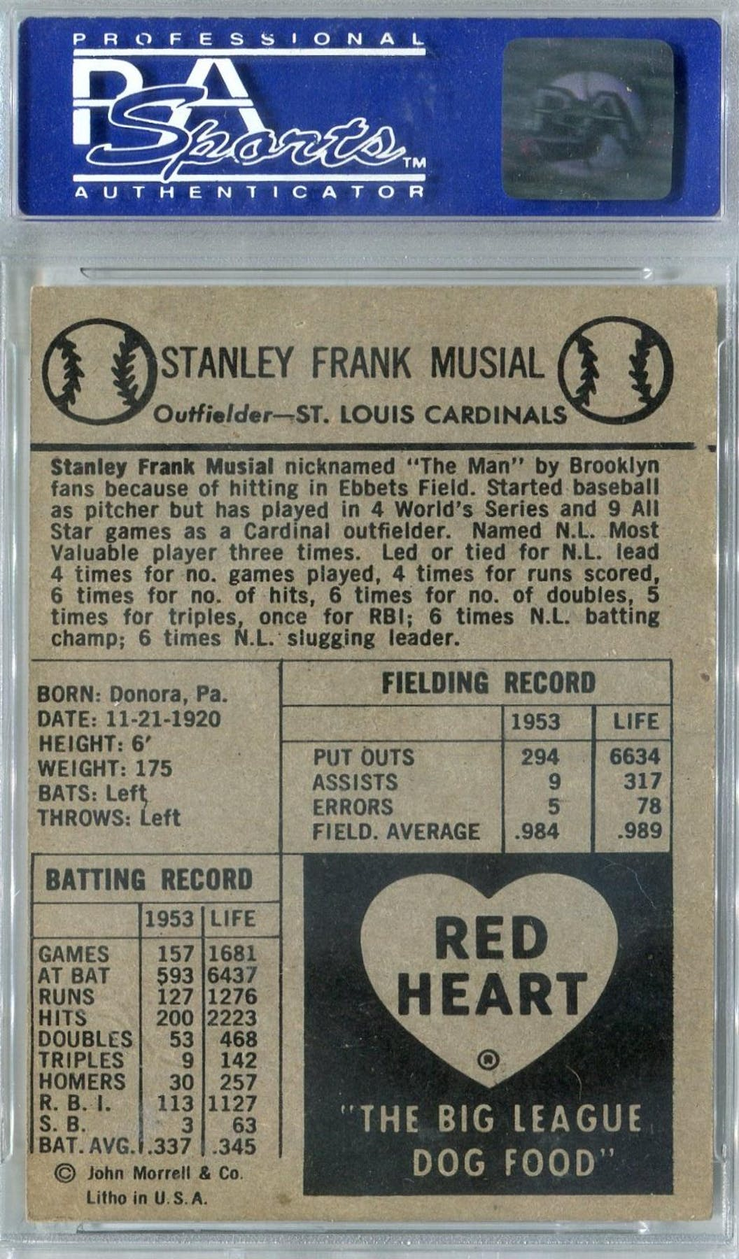 1954 Red Heart Baseball Stan Musial Psa 7 Nm 6468 Reed Buy