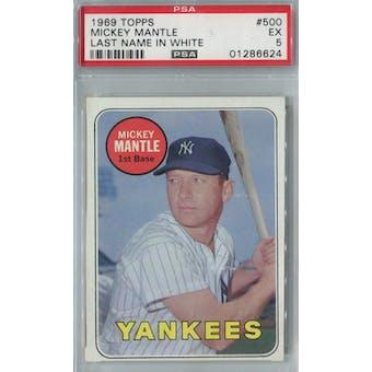 1969 Topps Baseball #500 Mickey Mantle WL PSA 5 (EX) *6624 (Reed Buy)