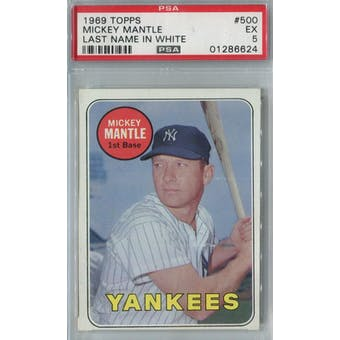 1969 Topps Baseball #500 Mickey Mantle WL PSA 5 (EX) *6624 (Reed Buy)