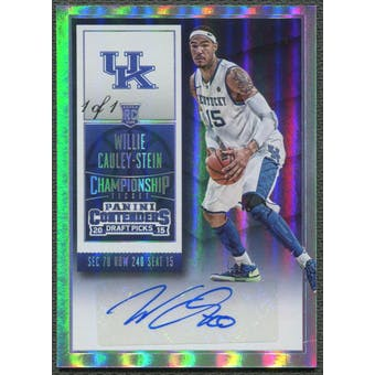 2015/16 Panini Contenders Draft Picks #150A Willie Cauley-Stein Championship Ticket Rookie Auto #1/1