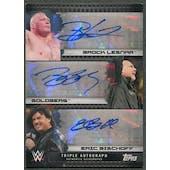 2017 Topps WWE #NNO Brock Lesnar Goldberg Eric Bischoff Triple Auto #03/10