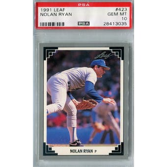 1991 Leaf Baseball #423 Nolan Ryan PSA 10 (GM-MT) *3035 (Reed Buy)