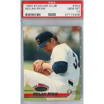 1993 Topps Stadium Club Baseball #353 Nolan Ryan PSA 10 (GM-MT) *3308 (Reed Buy)