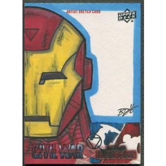 2016 Captain America Civil War Sketch Card Of Iron Man by Brian De Guire #1/1