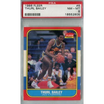 1986/87 Fleer Basketball #6 Thurl Bailey PSA 8 (NM-MT) *2805 (Reed Buy)
