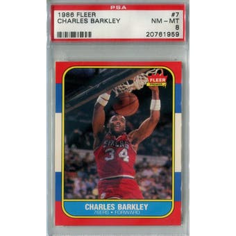 1986/87 Fleer Basketball #7 Charles Barkley PSA 8 (NM-MT) *1959 (Reed Buy)