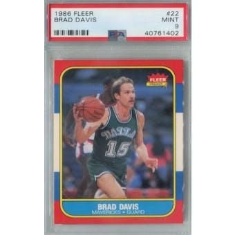 1986/87 Fleer Basketball #22 Brad Davis PSA 9 (MT) *1402 (Reed Buy)
