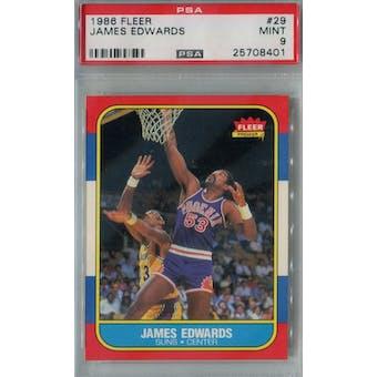 1986/87 Fleer Basketball #29 James Edwards PSA 9 (MT) *8401 (Reed Buy)