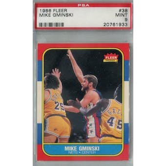 1986/87 Fleer Basketball #38 Mike Gminski PSA 9 (MT) *1933 (Reed Buy)