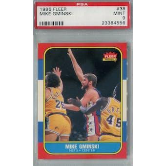 1986/87 Fleer Basketball #38 Mike Gminski PSA 9 (MT) *4556 (Reed Buy)