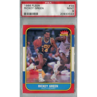 1986/87 Fleer Basketball #39 Rickey Green PSA 9 (MT) *3322 (Reed Buy)