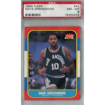 1986/87 Fleer Basketball #41 Dave Greenwood PSA 8 (NM-MT) *2432 (Reed Buy)