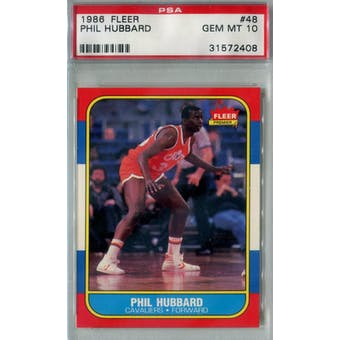 1986/87 Fleer Basketball #48 Phil Hubbard PSA 10 (GM-MT) *2408 (Reed Buy)