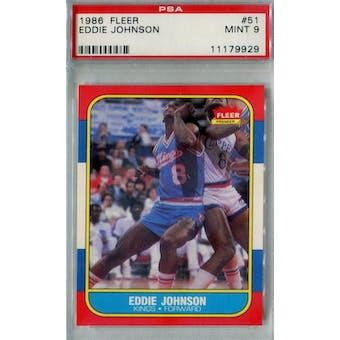 1986/87 Fleer Basketball #51 Eddie Johnson PSA 9 (MT) *9929 (Reed Buy)