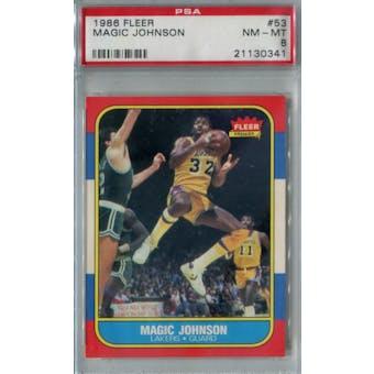 1986/87 Fleer Basketball #53 Magic Johnson PSA 8 (NM-MT) *0341 (Reed Buy)
