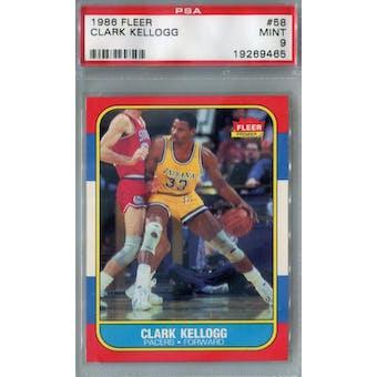 1986/87 Fleer Basketball #58 Clark Kellogg PSA 9 (MT) *9465 (Reed Buy)