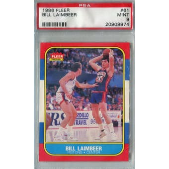 1986/87 Fleer Basketball #61 Bill Laimbeer PSA 9 (MT) *9974 (Reed Buy)