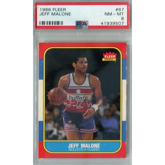 1986/87 Fleer Basketball #67 Jeff Malone PSA 8 (NM-MT) *9507 (Reed Buy)