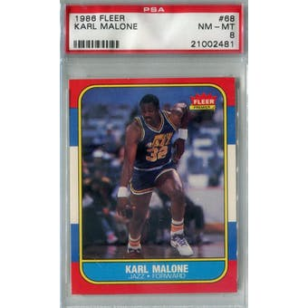 1986/87 Fleer Basketball #68 Karl Malone PSA 8 (NM-MT) *2481 (Reed Buy)