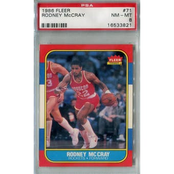 1986/87 Fleer Basketball #71 Rodney McCray PSA 8 (NM-MT) *3821 (Reed Buy)
