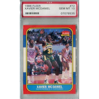 1986/87 Fleer Basketball #72 Xavier McDaniel PSA 10 (GM-MT) *8535 (Reed Buy)