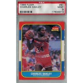 1986/87 Fleer Basketball #81 Charles Oakley PSA 9 (MT) *4913 (Reed Buy)