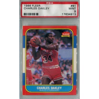 1986/87 Fleer Basketball #81 Charles Oakley PSA 9 (MT) *4913 (Reed Buy)