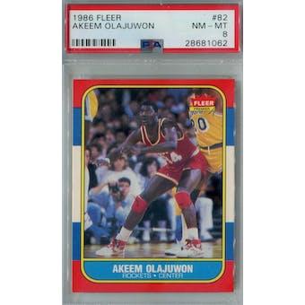 1986/87 Fleer Basketball #82 Akeem Olajuwon PSA 8 (NM-MT) *1062 (Reed Buy)