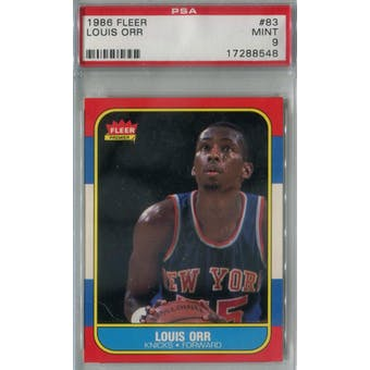1986/87 Fleer Basketball #83 Louis Orr PSA 9 (MT) *8548 (Reed Buy)