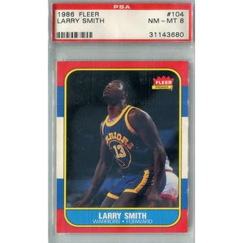 1986/87 Fleer Basketball #104 Larry Smith PSA 8 (NM-MT) *3680 (Reed Buy)