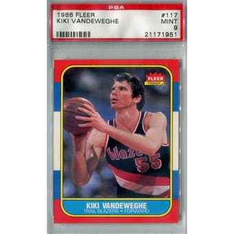 1986/87 Fleer Basketball #117 Kiki Vandeweghe PSA 9 (MT) *1951 (Reed Buy)