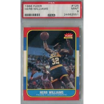 1986/87 Fleer Basketball #125 Herb Williams PSA 9 (MT) *2551 (Reed Buy)