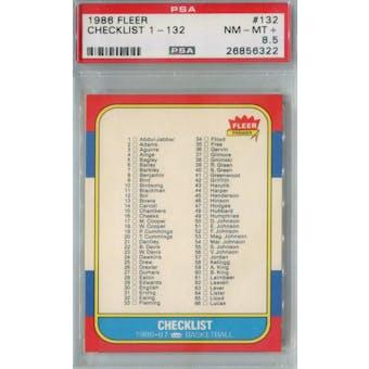 1986/87 Fleer Basketball #132 Checklist 1-132 PSA 8.5 (NM-MT+) *6322 (Reed Buy)