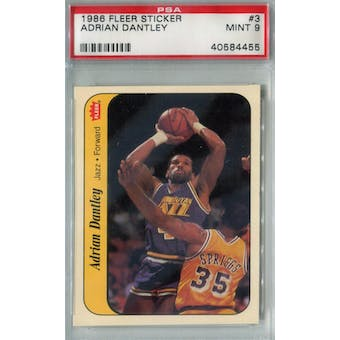 1986/87 Fleer Basketball Sticker #3 Adrian Dantley PSA 9 (MT) *4455 (Reed Buy)