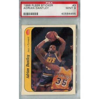 1986/87 Fleer Basketball Sticker #3 Adrian Dantley PSA 9 (MT) *4455 (Reed Buy)