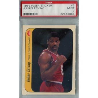 1986/87 Fleer Basketball Sticker #5 Julius Erving PSA 9 (MT) *3085 (Reed Buy)