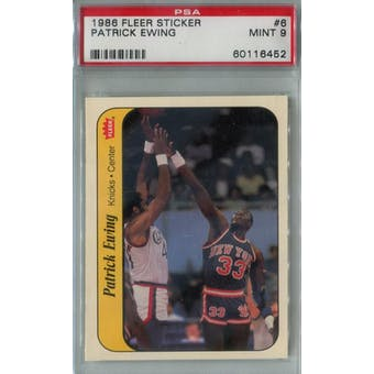 1986/87 Fleer Basketball Sticker #6 Patrick Ewing PSA 9 (MT) *6452 (Reed Buy)