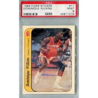 1986/87 Fleer Basketball Sticker #11 Dominique Wilkins PSA 9 (MT) *1016 (Reed Buy)