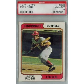 1974 Topps Baseball #300 Pete Rose PSA 8 (NM-MT) *8051 (Reed Buy)