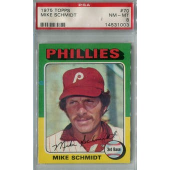 1975 Topps Baseball #70 Mike Schmidt PSA 8 (NM-MT) *1003 (Reed Buy)