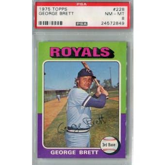 1975 Topps Baseball #228 George Brett RC PSA 8 (NM-MT) *2849 (Reed Buy)