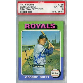 1975 Topps Baseball #228 George Brett RC PSA 6 (EX-MT) Auto AUTH *2641 (Reed Buy)