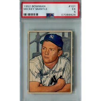 1952 Bowman Baseball #101 Mickey Mantle PSA 5 (EX) *9926 (Reed Buy)