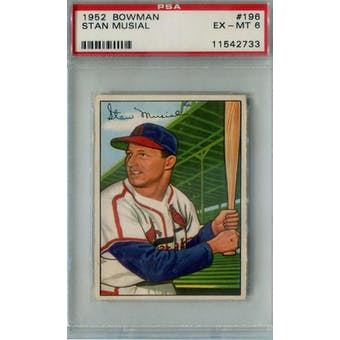 1952 Bowman Baseball #196 Stan Musial PSA 6 (EX-MT) *2733 (Reed Buy)