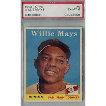 1958 Topps Baseball #5 Willie Mays PSA 6 (EX-MT) *3659 (Reed Buy)
