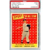 1958 Topps Baseball #487 Mickey Mantle AS PSA 7 (NM) *6286 (Reed Buy)