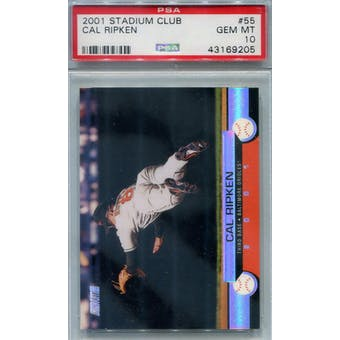 2001 Topps Stadium Club Baseball #55 Cal Ripken Jr PSA 10 (GM-MT) *9205 (Reed Buy)