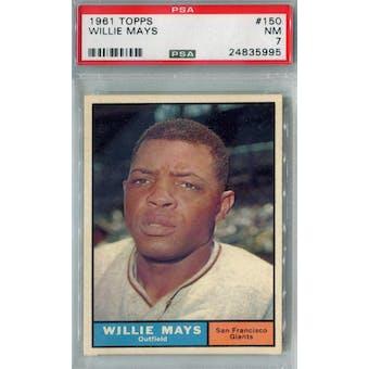 1961 Topps Baseball #150 Willie Mays PSA 7 (NM) *5995 (Reed Buy)